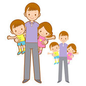 Father husband holding the children. Home and Family Character D — Stock Vector