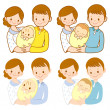 The mom and dad holding newborn baby. Home and Family Character — Stock Vector