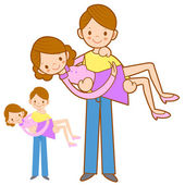 Dad hugging his wife with both hands. Home and Family Character  — Stock Vector