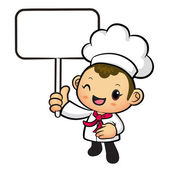 The Chef mascot holding a board. Work and Job Character Design S — Stock Vector