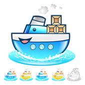 島配信イラストの船。製品および配布 s — ストックベクタ