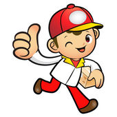 Red Delivery Man Mascot the right hand best gesture and left han — Stock Vector
