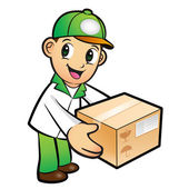 Green Delivery Man mascot moving a box. Product and Distribution — Stock Vector