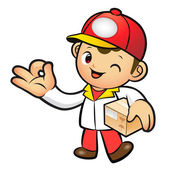 Red Delivery Man Mascot the OK gesture. Home and Family Characte — Stock Vector