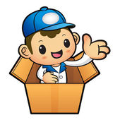 Blue Delivery Man Mascot in box the hand guide. Product and Dist — Stock Vector