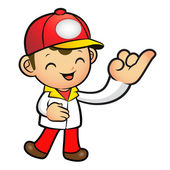 The Red Delivery Man mascot takes the promise of a with the righ — Stock Vector