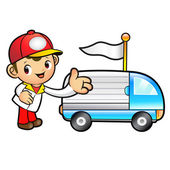 Red Delivery Man mascot Toward the truck convoy. Product and Dis — Stock Vector