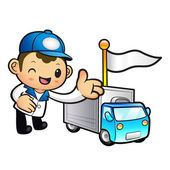 Blue Delivery Man mascot Toward the truck convoy. Product and Di — Stock Vector