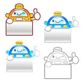 Different styles of Taxi Mascot Sets. Product and Distribution S — Stock Vector