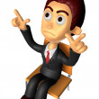 3D Business man Mascot Pointing fingers gesture of anger. Work a — Stock Photo #47068765