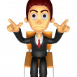 3D Business man Mascot Pointing fingers gesture of anger. Work a — Stock Photo #47068815