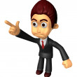 3D Business man Mascot To point the finger at the angry look. Wo — Stock Photo #47068875