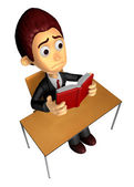 3D Business man Mascot read in ones leisure hours. Work and Jo — Stock Photo