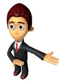 3D Business man mascot Suggests the direction. Work and Job Char — Stock Photo