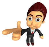 3D Business man Mascot point the finger of blame. Work and Job C — Stock Photo