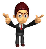 3D Business man Mascot To point the finger at you with both hand — Stock Photo