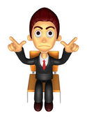 3D Business man Mascot Pointing fingers gesture of anger. Work a — Stock Photo