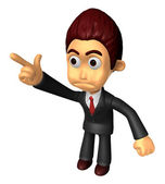 3D Business man Mascot To point the finger at the angry look. Wo — Stock Photo