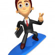 3D Business man Mascot dip surfboard ride on Pointing fingers ge — Stock Photo #47756187