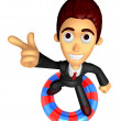 3D Business man Mascot dip tube ride on Pointing fingers gesture — Stock Photo #47756597