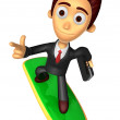 3D Business man Mascot dip surfboard ride on Pointing fingers ge — Stock Photo #47756777