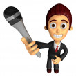 3D Business man Mascot is holding a microphone. Work and Job Cha — Stock Photo #47756853