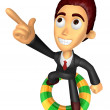 3D Business man Mascot dip tube ride on Pointing fingers gesture — Stock Photo #47756963