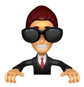Wear sunglasses 3D Business man Mascot holding a big board with  — Stockfoto