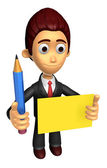 3D Business man mascot hand is holding a pencil and board. Work  — Photo