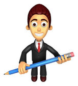 3D Business man mascot holding a big board with both Pencil. Wor — Photo