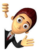 3D Business man Mascot the left hand guides and right hand is ho — Stockfoto
