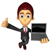 3D Business man Mascot the right hand best gesture and left hand — Stock Photo