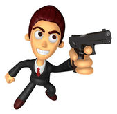 3D Business man Mascot is holding a Automatic pistol pose. Work  — Stock Photo