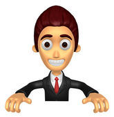 3D Business man Mascot holding a big board with both hands. Work — Stock Photo