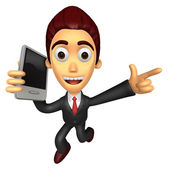 3D Business man Mascots to jump out of the phone. Work and Job C — Stok fotoğraf
