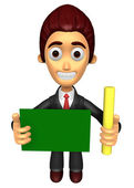 3D Business man mascot hand is holding a chalk and board. Work a — Stock Photo