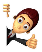 3D Business man Mascot the right hand best gesture and left hand — Photo