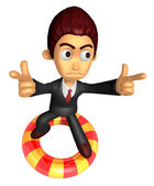 3D Business man Mascot To point the finger at you with both hand — Stok fotoğraf