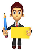 3D Business man mascot hand is holding a pencil and board. Work  — Foto de Stock