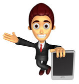 3D Business man mascot the left hand guides and the right hand i — Photo