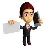3D Business man Mascot the hand is holding a Smart Phone and bus — Stock Photo