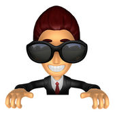 Wear sunglasses 3D Business man Mascot holding a big board with  — Photo