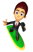 3D Business man Mascot dip surfboard ride on Pointing fingers ge — Stock Photo