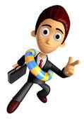 3D Business man Mascot Pointing fingers gesture of anger wearing — Stock Photo