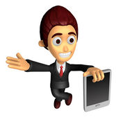 3D Business man mascot the left hand guides and the right hand i — Stockfoto