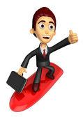 3D Business man Mascot balancing on a surfboard best gesture. Wo — Stock Photo