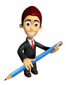 3D Business man mascot holding a big board with both Pencil. Wor — Stockfoto