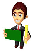 3D Business man mascot hand is holding a chalk and board. Work a — Photo