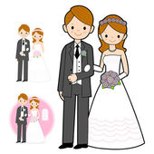 The Newlyweds Mascot wedding. Marriage and Parenting Character D — Stock Vector