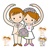 The Newlyweds Mascot love gesture. Marriage and Parenting Charac — Stock Vector